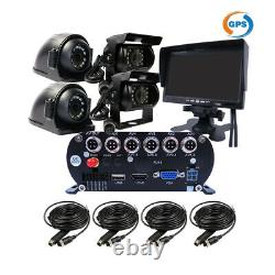 1080P 4CH GPS 2TB HDD Car Mobile DVR MDVR Video Record CCTV Camera 7 Monitor