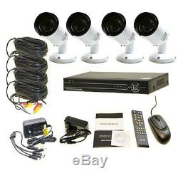 4CH Security Network Remote Digital Video Recorders DVR IN/OUT 960P IR Cameras
