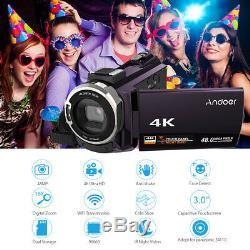 Andoer 4K 1080P 48MP WiFi Digital Video Camera Camcorder Recorder+mic+lens Z3D8