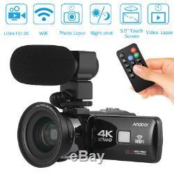 Andoer 4K Ultra HD WiFi Digital Video Camera Camcorder DV Recorder + Microphone