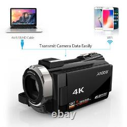 Andoer WiFi 4K HD 48MP Digital Video Camera Camcorder Recorder DV Mic+Macro Lens