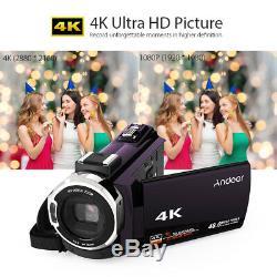 Andoer WiFi 4K HD 48MP Digital Video Handy Camera Camcorder Recorder DV Mic B3G0