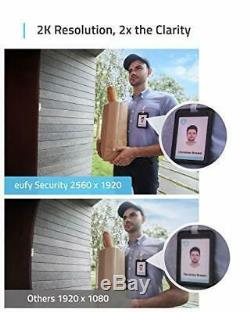 Eufy Security Wi-Fi Video Doorbell 2K Resolution Real-Time Response No Monthl