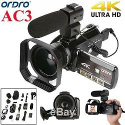 ORDRO AC3 4K WiFi Digital Video Camera Camcorder 24MP 30X Zoom IR Recorder WN