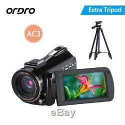 ORDRO AC3 HD 4K Wifi LED Digital Camera Video Record Hot Shoe with VCT-520 Tripod