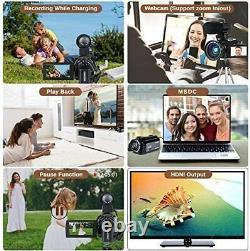 Video Camera 4K Camcorder Digital FHD WiFi Vlogging Cameras Recorder with Microp