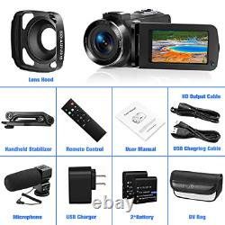 Video Camera Ultra 2.7K Camcorder HD 36MP Digital Vlogging Recorder with IR and