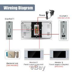 Video Doorbell Door Phone Intercom System 7 LCD Monitor 1200TVL Wired Camera
