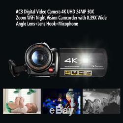 WIFI 4K UHD Night Vision Digital Video Camera Camcorder Recorder+Mic+Lens Hook