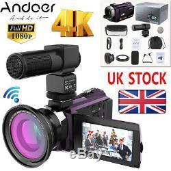 Andoer 4k 1080p 48mp Wifi Caméra Vidéo Numérique Dvr Caméscope Enregistreur + Objectif + Micro