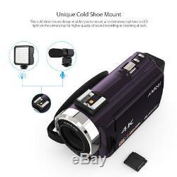 Andoer 4k 1080p 48mp Wifi Caméscope Enregistreur Numérique Avec Objectif + Micro