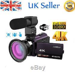 Andoer 4k 1080p 48mp Wifi Enregistreur Numérique Caméscope Caméra Vidéo + Micro + Lentille Z3d8