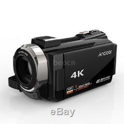 Andoer Wifi 4k Hd 48mp Caméscope Numérique Enregistreur DV MIC + Objectif Macro
