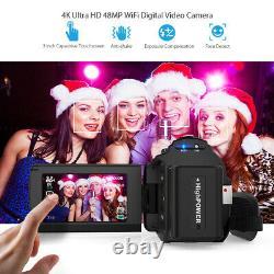 Andoer Wifi 4k Hd 48mp Digital Video Camera Camcorder Enregistreur DV Mic+macro Lens