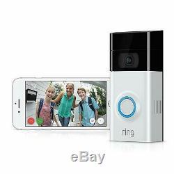 Brand New Video Ring 2 Sonnette, 1080p Wifi, Satin / Nickel, 2 Voies Parler