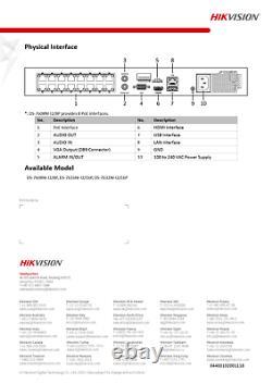Hikvision Ds-7616ni-i2-16p Enregistreur Vidéo Réseau 16 Canaux Poe Cctv Anpr 12mp