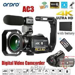 Nouveau Ordro Ac3 4k Wifi Caméscope Numérique Caméra Vidéo 24mp 30x Dvr Enregistreur