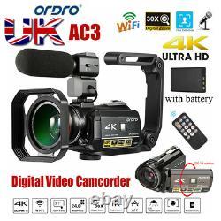 Ordro Ac3 4k Wifi Caméra Vidéo Numérique Caméscope 24mp 30x Zoom Ir DV Recorder Royaume-uni