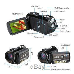 Ordro Ac3 Hd 4k Wifi Led Caméra D'enregistrement Vidéo Numérique Avec Hot Shoe Vct-520 Trépied