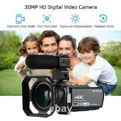 Ordro Hdv-ae8 4k Wifi Caméra Vidéo Numérique Camcorder DV Enregistreur 30mp 16x Q5u8