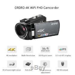 Ordro Hdv-ae8 4k Wifi Caméscope Numérique Caméra Vidéo DV Enregistreur 30mp 16x F7t9