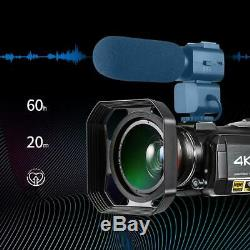 Ordro Wifi 4k Ultra Hd 24mp 30x Zoom Caméscope Numérique Enregistreur DV #