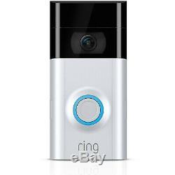 Ring 2 Wi-fi Activé Sécurité Vidéo Sonnette, Fonctionne Avec Alexa Satin Nickel
