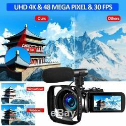 Sauleoo 4k Caméscope Caméra Vidéo Numérique Youtube Vlogging Camera Recorder Uhd