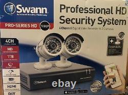 Swann 4 Channel Enregistreur Vidéo Hd Numérique Et 2 Caméras. Cctv Pour La Maison. Nouveau