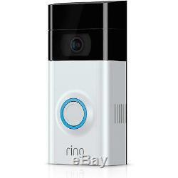 Video Ring 2 Sonnette 1080p Video Hd, Détection De Mouvement, Wifi, Nickel Satiné