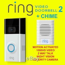 Video Ring 2 Sonnette Détection De Mouvement Vidéo 1080hd 2 Voies Parler Avec Appareil Photo Chime