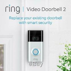 Video Ring 2 Sonnette Vidéo Hd (2-way Talk) Détection De Mouvement Intégrée Wi-fi