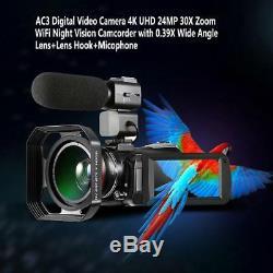 Wifi 4k Uhd Night Vision Caméscope Enregistreur Caméra Vidéo Numérique + Micro + Objectif Crochet