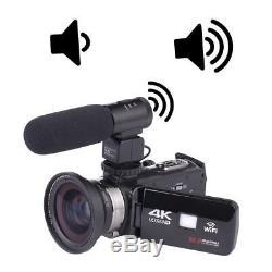 Wifi 4k Ultra Hd 30mp Caméra Vidéo Numérique Caméscope Enregistreur DV MIC Lens